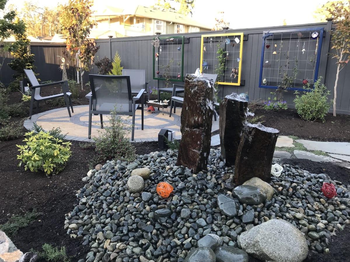Landscape design - Basalt stone water feature - Celtic patio - Landscaping - Gardening